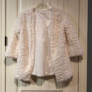 Off white faux fur sweater med